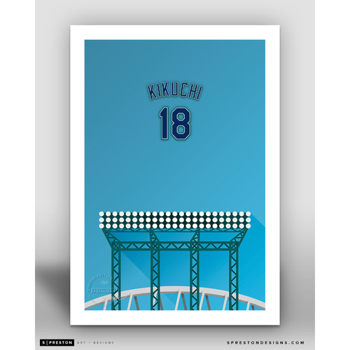 Photo of Minimalist T-Mobile Park Yusei Kikuchi Player Series Art Print by S. Preston - Limited Edition