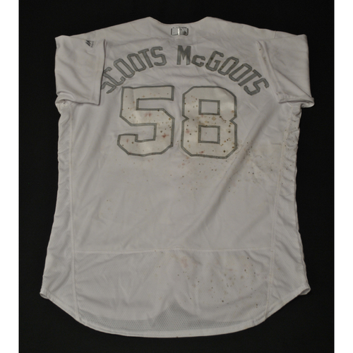 "Photo of Scott ""Scoots McGoots"" Barlow Kansas City Royals Game-Used 2019 Players' Weekend Jersey"