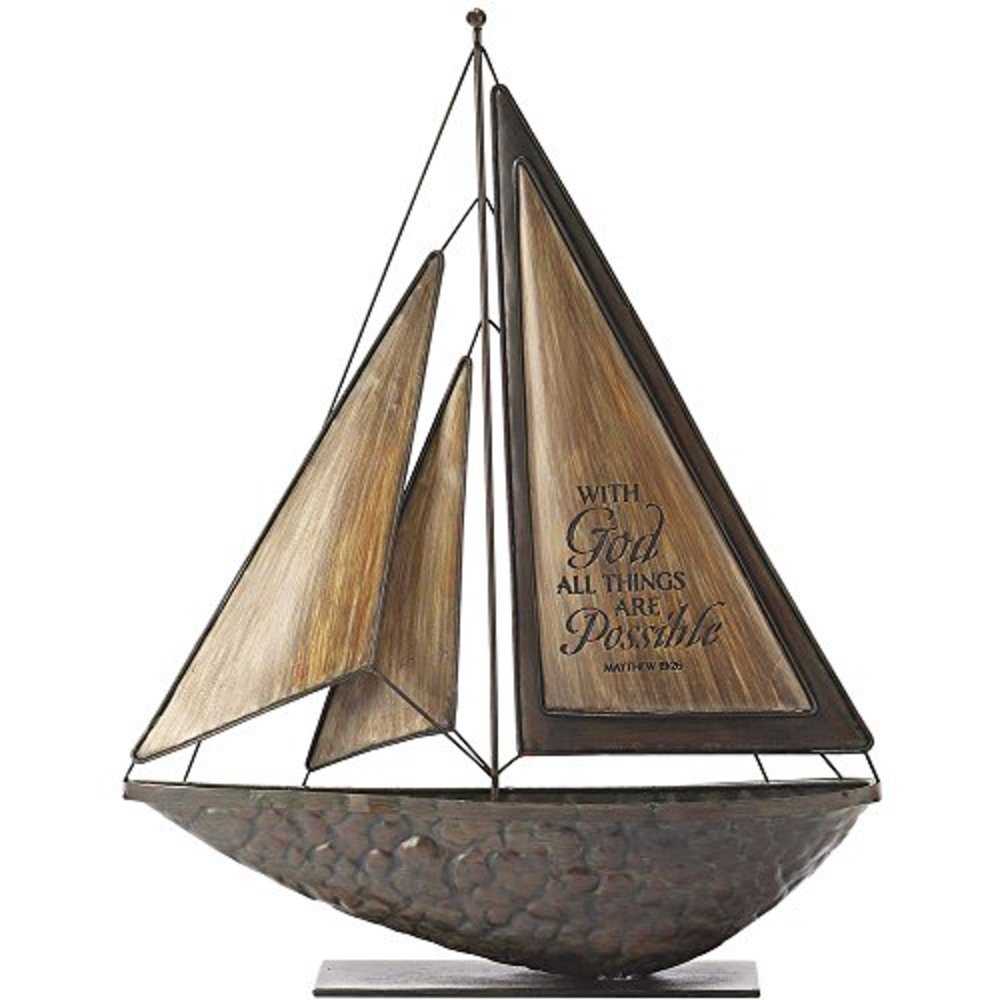 Photo of Dicksons with God All Things Possible Brown 16 x 14 Metal and Resin Stone Table Top Sailboat Figurine