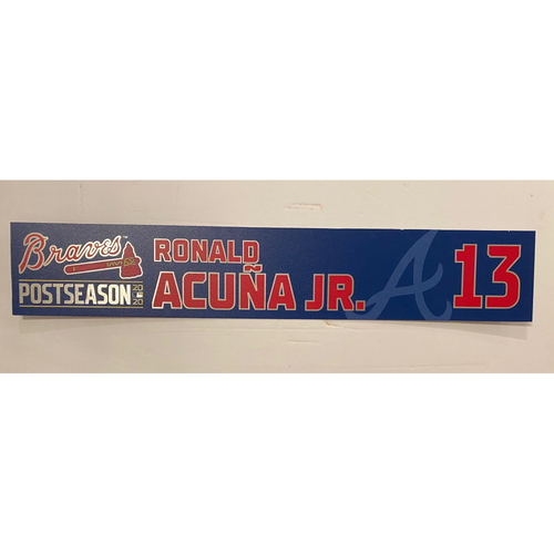 Photo of Ronald Acuna, Jr. Game-Used 2020 Postseason Locker Nameplate - September 30, 2020 - Wild Card Game 1