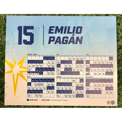 Photo of Rays Baseball Foundation: Team Issued Locker Tag: Emilio Pagan - 2019 Season