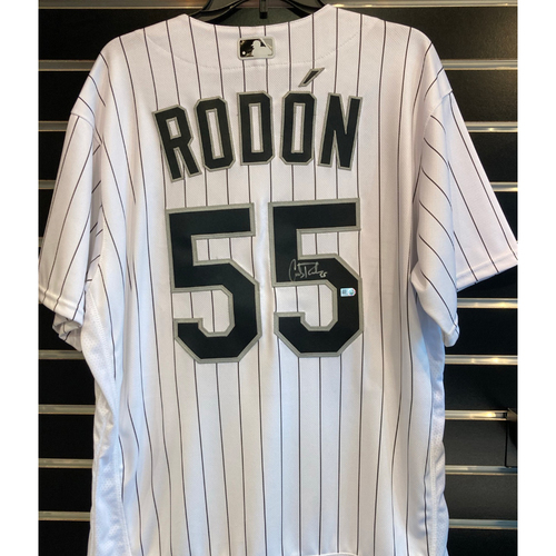 Photo of Carlos Rodon Autographed White Pinstripe Jersey and Baseball - Size 48