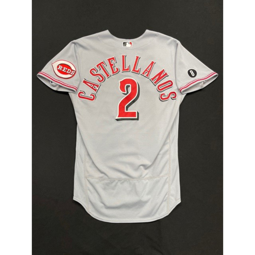 Photo of Nick Castellanos -- Game-Used Jersey -- Worn During Wade Miley No-Hitter on May 7, 2021 -- Reds @ Indians -- Size 42