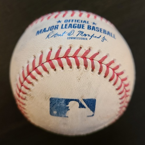Photo of Authenticated Game Used Baseball: Strikeout by Max Scherzer against Lourdes Gurriel Jr., Alejandro Kirk and Cavan Biggio Singles. (Apr 27, 2021 vs WAS). Bottom 3. Game played in Dunedin, FL. Guerrero Jr. 3 HR Game.