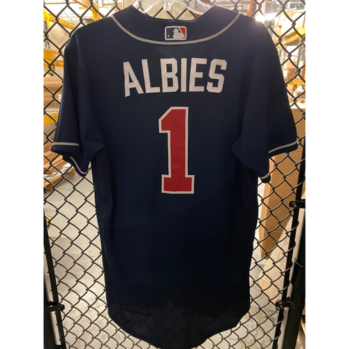 Ozzie Albies Game Used 2020 Playoff Jersey - Worn 10/8/20 NLDS Gm 3, 10/13/20 NLCS Gm 2 - Home Run - Size 40