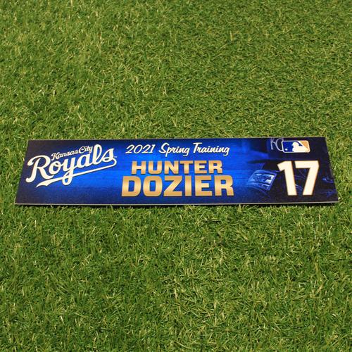 Photo of Team-Issued 2021 Spring Training Locker Tag: Hunter Dozier #17