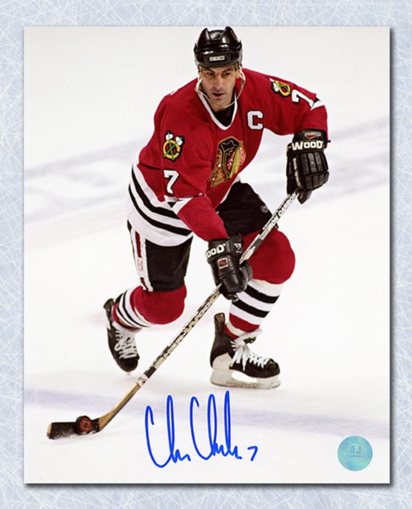 Chris Chelios Chicago Blackhawks Autographed Captain 8x10 Photo