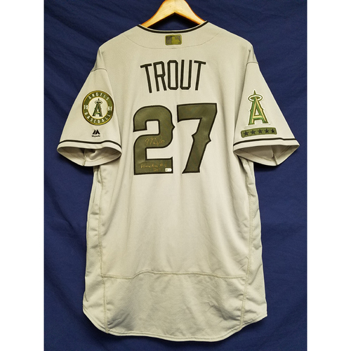Mike Trout Game-Used & Autographed Road Memorial Day Home Run Jersey
