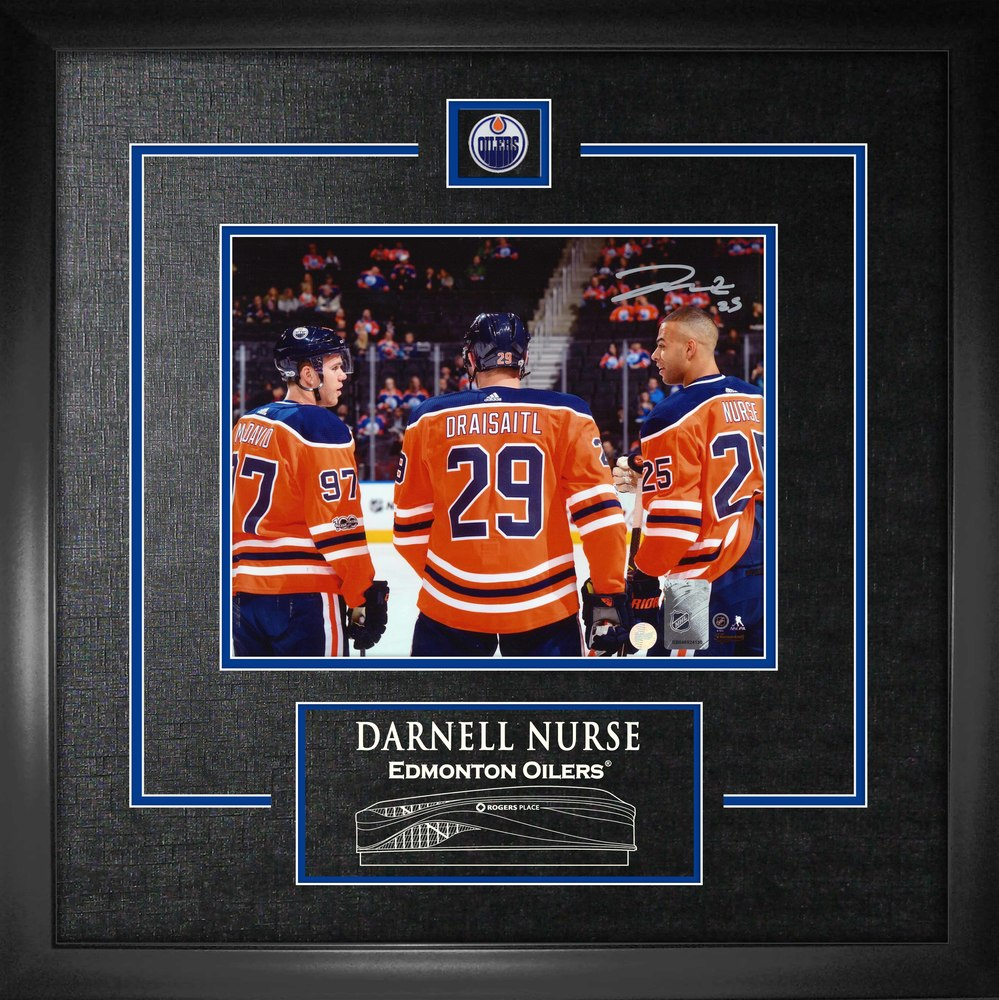 Darnell Nurse - Signed 8X10 Etched Mat Oilers with McDavid & Draisaitl