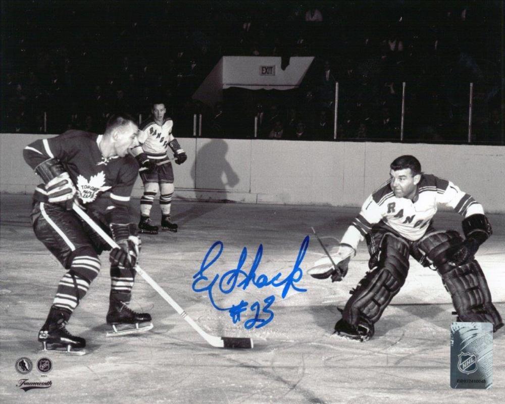 Eddie Shack -  Signed 8x10 Unframed Toronto Maple Leafs vs Worsley-H