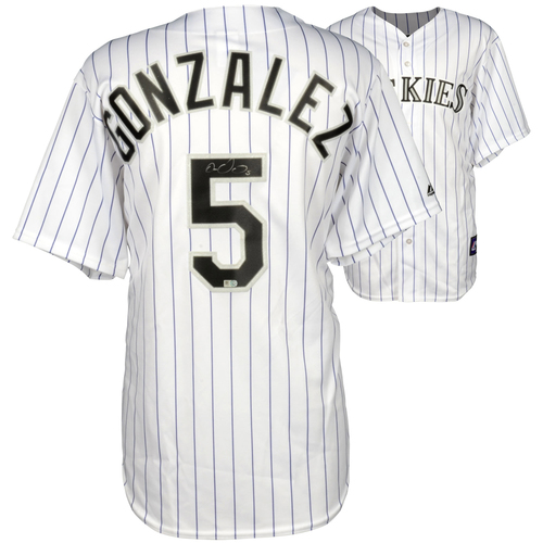 Photo of Carlos Gonzalez Colorado Rockies Autographed Majestic Replica White Jersey