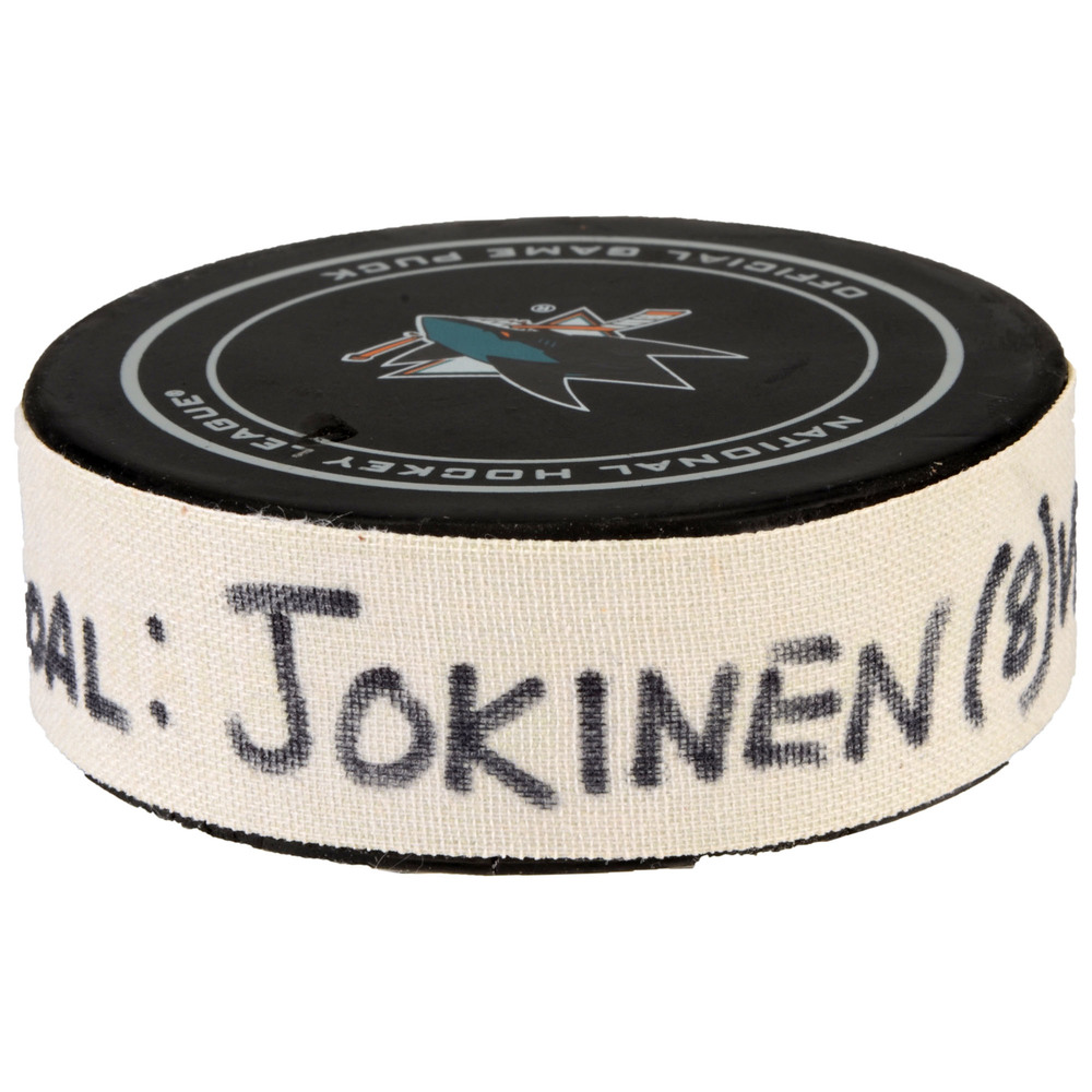 Jussi Jokinen Florida Panthers Game-Used Goal Puck from February 15, 2017 vs. San Jose Sharks