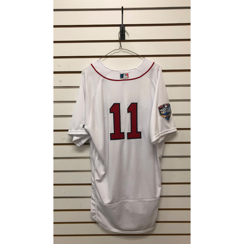 Photo of Rafael Devers Game-Used October 23, 2018 World Series Game 1 Home Jersey