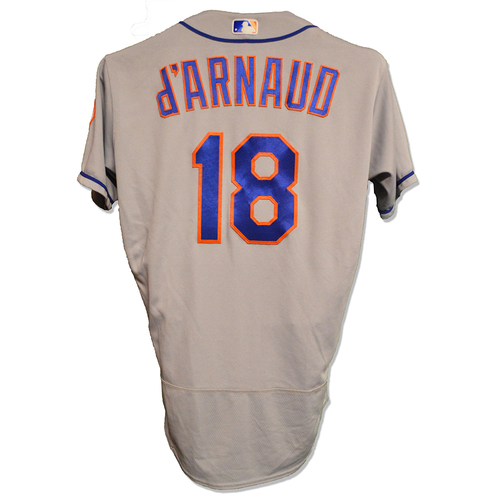 Photo of Travis d'Arnaud #18 - Game Used Road Grey Jersey - Mets vs. Phillies - 9/30/17