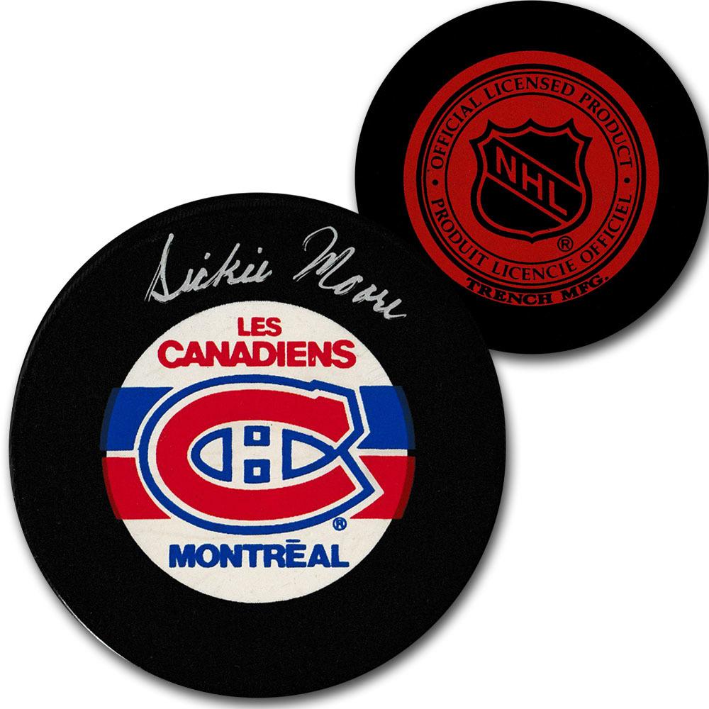 Dickie Moore (deceased) Autographed Montreal Canadiens Vintage Trench Puck
