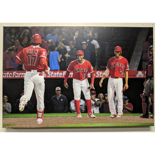 Photo of Shohei Ohtani 1st Home Run Celebration Photo Canvas With Batters Box Dirt
