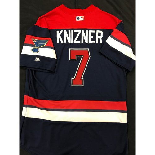 Photo of Andrew Knizner Team Issued 2019 St. Louis Blues Themed Cardinals Jersey (Size 46)