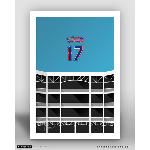 Photo of Minimalist Globe Life Park Shin-Soo Choo Player Series Art Print by S. Preston - Limited Edition