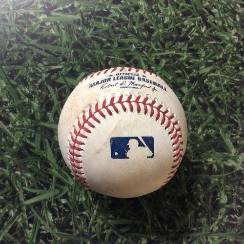 Photo of Game-Used Baseball ARI@MIL 08/24/19 - Zac Gallen - Christian Yelich: Double