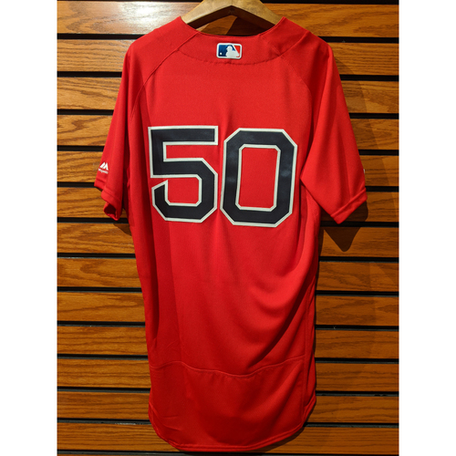 Photo of Mookie Betts Game Used Home Red Jersey