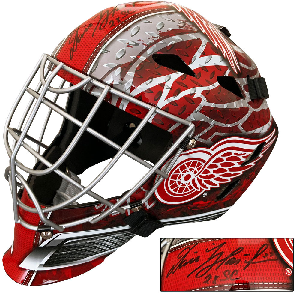 Dominik Hasek Autographed Detroit Red Wings Goalie Mask w/2X SC Inscription