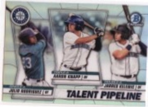 Photo of 2020 Bowman Chrome Talent Pipeline #TPSEA Jarred Kelenic/Julio Rodriguez/Aaron Knapp