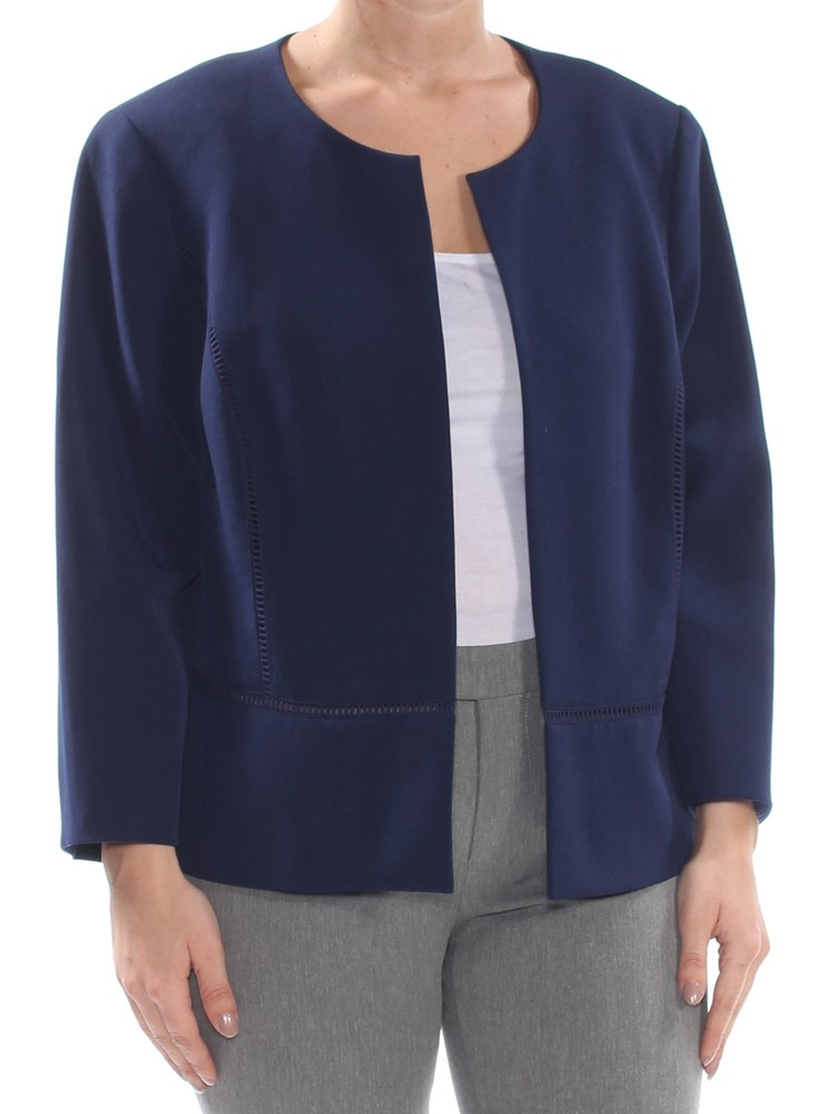 Photo of KASPER Womens Navy Eyelet 3/4 Sleeve Wear To Work Jacket Plus Size: 14W