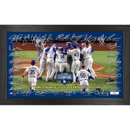 "Photo of Serial #1! Los Angeles Dodgers 2020 World Series Champions ""Celebration"" Signature Field"