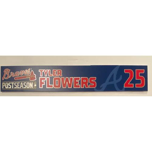 Photo of Tyler Flowers Game-Used 2020 Postseason Locker Nameplate - September 30, 2020 - Wild Card Game 1