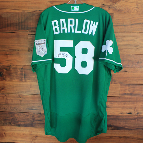 Photo of Autographed 2020 St. Patrick's Day Jersey: Scott Barlow #58 - Size 46