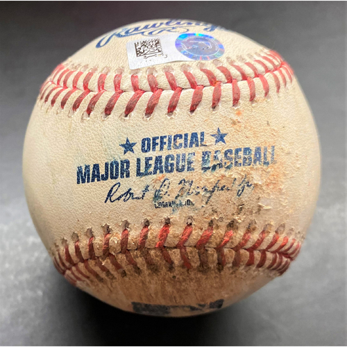 Photo of Game-Used Baseball: Aaron Judge New York Yankees Double and Casey Mize Detroit Tigers Strikeout of Giancarlo Stanton (MLB AUTHENTICATED)