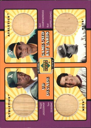 Photo of 2001 Upper Deck Decade 1970's Game Bat Combos #WS73 Reggie Jackson/Bert Campaneris/Tom Seaver/Bud Ha