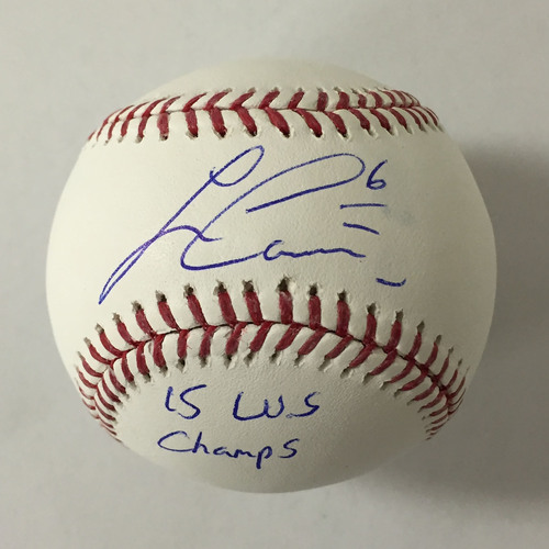 "Photo of Lorenzo Cain Autographed ""15 WS Champs"" Baseball"