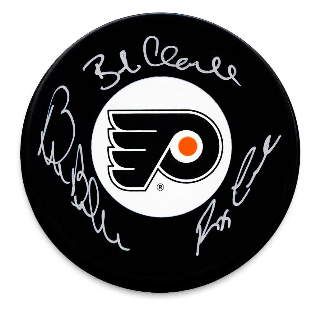 Bobby Clarke, Bill Barber & Reggie Leach LCB Line Philadelphia Flyers Autographed Puck