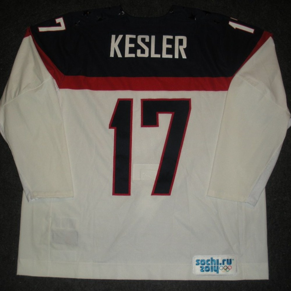 Ryan Kesler - Sochi 2014 - Winter Olympic Games - Team USA White Game-Worn Jersey - Worn in Warmups and 1st Period vs. Slovakia, 2/13/14