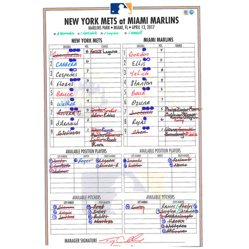 Game Used Lineup Card - Gsellman Start; Cespedes Hits 2 Home Runs; Travis d'Arnaud Hits Game Winning Home Run in 16th Inning - Mets vs. Marlins - 4/13/17