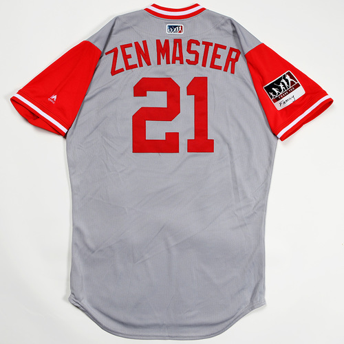 """Photo of Michael """"Zen Master"""" Lorenzen Cincinnati Reds Game-Used 2018 Players' Weekend Jersey"""