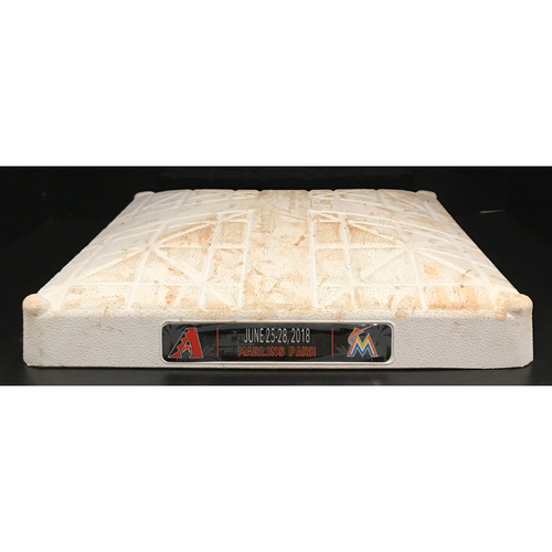 Photo of Game-Used Base: Miami Marlins vs Arizona Diamondbacks (June 25 -Jun 28, 2018) (Third Base, 1st-3rd inn.)