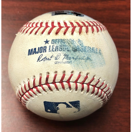 Photo of Game Used Baseball: Guillermo Heredia RBI double and Willy Adames foul ball off Richard Bleier - July 3, 2019 v BAL