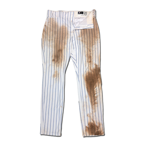Photo of Pete Alonso #20 - Game Used White Pinstripe Pants - Alonso Goes 4-4 - Mets vs. Red Sox - 7/29/20
