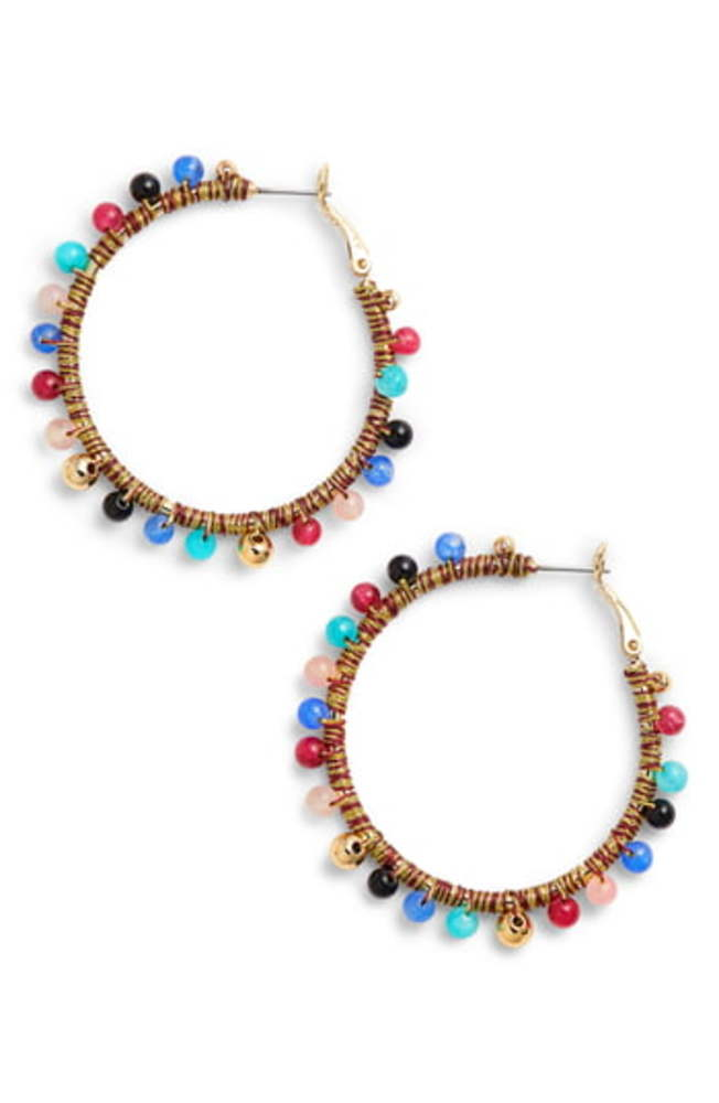 Photo of Rebecca Minkoff Multicolor Bead Hoop Earrings