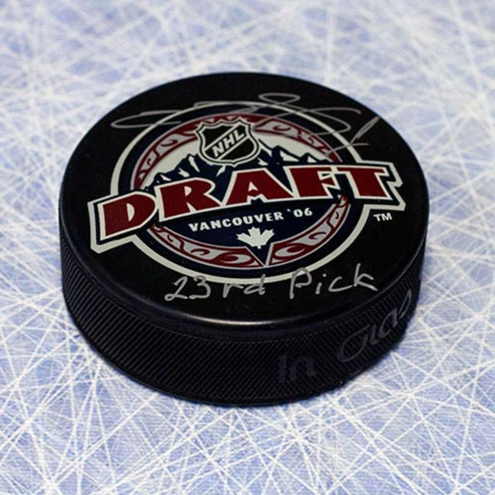 Semyon Varlamov 2006 NHL Draft Day Puck Autographed with 26th Pick Inscription *Colorado Avalanche*