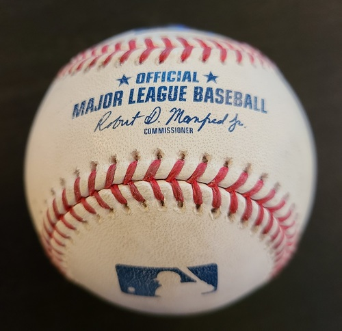 Photo of Authenticated Game Used Baseball: Single by Trea Turner against Steven Matz (Apr 28, 2021 vs WAS). Top 1. Game played in Dunedin, FL.