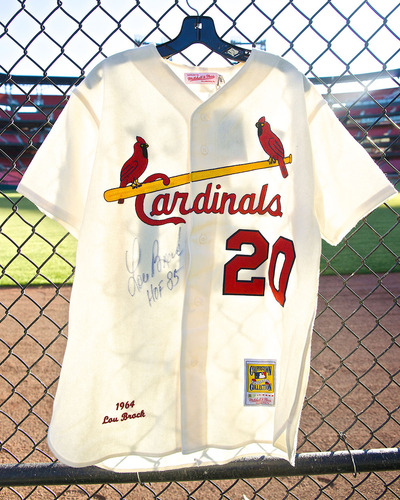 Photo of Cardinals Authentics: Autographed Cooperstown Collection replica 1964 Lou Brock Jersey - Size - 44