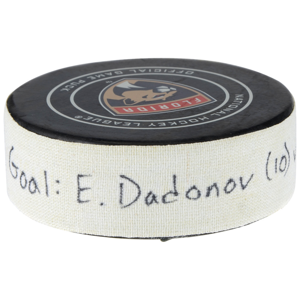 Evgenii Dadonov Florida Panthers Game-Used Goal Puck vs. Golden Knights on January 19, 2018