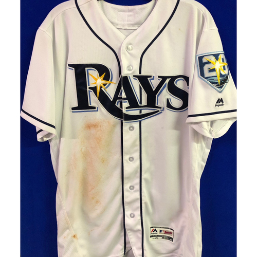 Photo of 20th Anniversary Game Used White Jersey: Kevin Kiermaier - 500th Career Game - July 23, 2018 v NYY