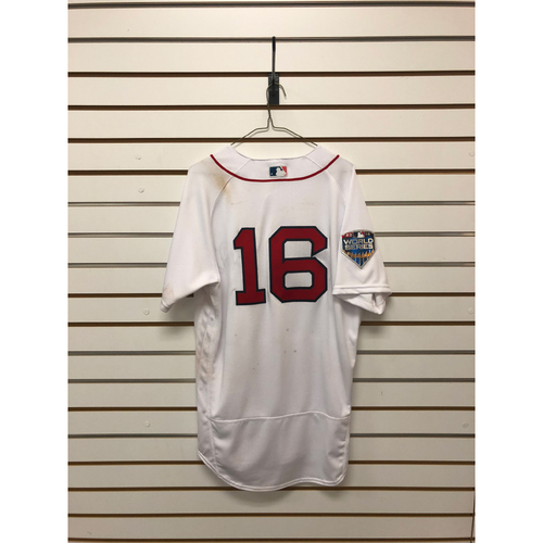 Photo of Andrew Benintendi Game-Used October 23, 2018 World Series Game 1 Home Jersey
