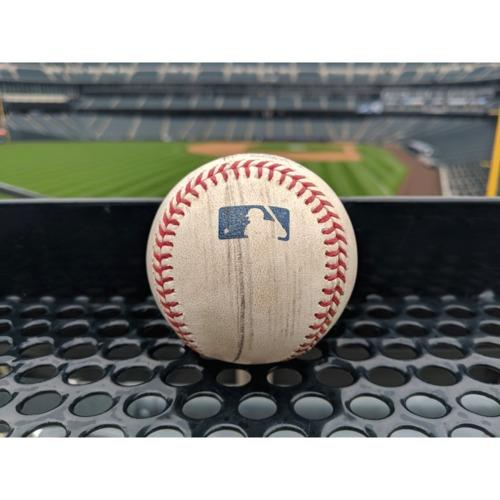 Photo of Colorado Rockies Game-Used Baseball - Urias v. Story - RBI Single to Pederson, Blackmon scores - April 7, 2019