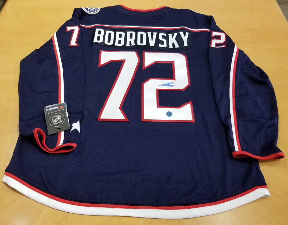 Sergei Bobrovsky Colmumbus Blue Jackets Autographed Fanatics Hockey Jersey