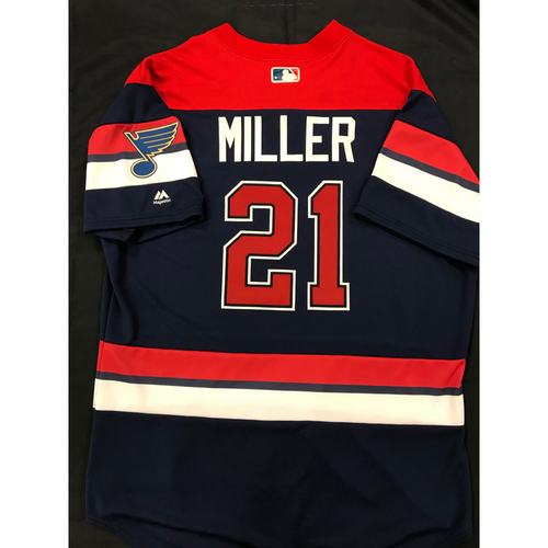 Photo of Andrew Miller Team Issued 2019 St. Louis Blues Themed Cardinals Jersey (Size 48)